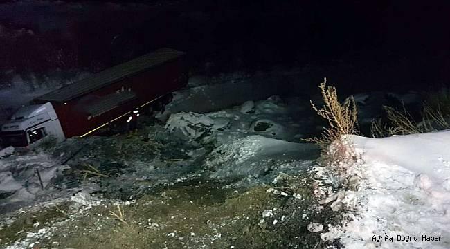 Tır şarampole uçtu şoför yaralı olarak kurtarıldı
