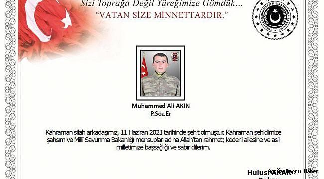 PKK'nın attığı füzelerle bir asker vefat etti